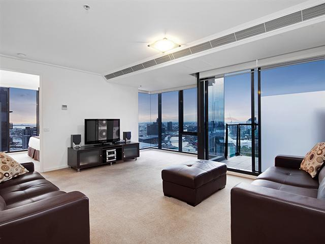 Living area with views over Melbourne